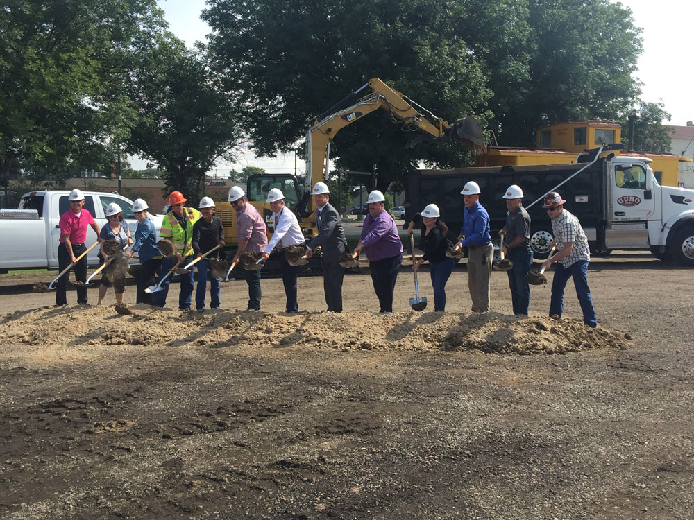 Matthew Bundy pictured as part of group at the groundbreaking for the Mountain Home Downtown Revitalization site.