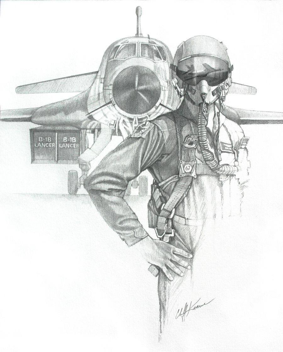 Fine art illustration of B-1 aviator in front of plane.