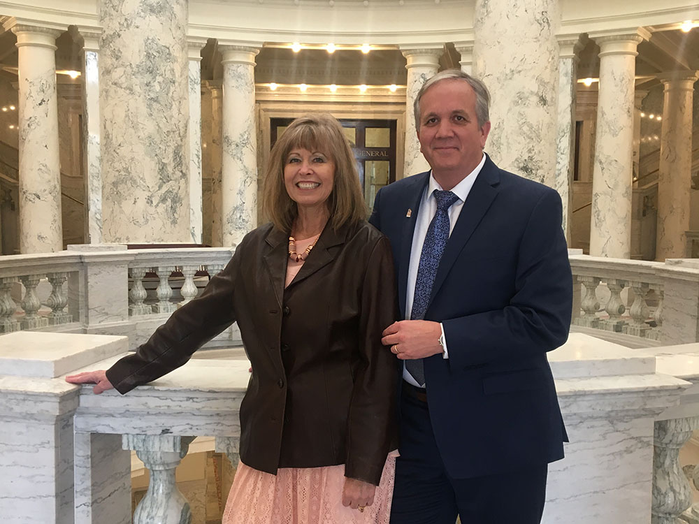 Current Idaho State Representative candidate Matthew Bundy and his wife Collette pictured at the Idaho Statehouse rotunda.